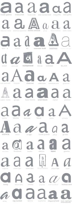 A lowercase 'a' in a dazzling array of typefaces (including Coquette, Bauer Bodoni, Mrs. Eaves, Futura…and the ignominious Brush Script MT). #typography #lowercase