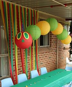 The Very Hungry Caterpillar birthday party.  The food served is what he eats though in the book.