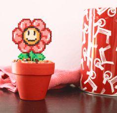Super Mario Inspired Tiny Red Smiling Daisy. Kawaii by BeadxBead
