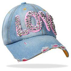 Damen Jeans Baseball Cap Mütze Kappe mit Strass LOVE Schriftzug und Glitzer - C021 (C021-Rosa)