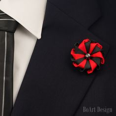 Lapel Pin/Red/Black Kanzashi Flower Lapel Pin/Hematite Pearl/Lapel Flower/Mens Lapel Flower/Wedding Accessories by BoArtDesign on Etsy