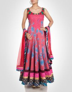 Multi-hued printed cotton anarkali with floral embroidered. Shop Now: www.kimaya.in