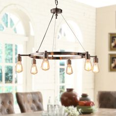 6 Light Bulb Indoor Chandelier Hanging Lighting Fixture Brushed Nickel Finish Suited As Your Kitchen Bedroom Living Room Dining Room Foyer Entry Home Decor ** More info could be found at the image url. (This is an affiliate link) Barn Lighting, Home Lighting, Chandelier Lighting, Lighting Ideas, Kitchen Lighting, Dining Chandelier, Industrial Chandelier, Chandelier Ideas, Bronze Chandelier