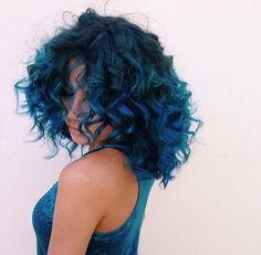 Gorgeous hair color. Love that blue ombré.
