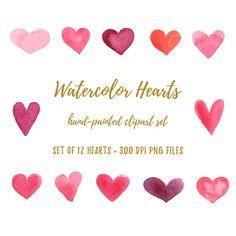 Watercolor Clipart - Logo Clip art - Watercolor Logo - Watercolour Clipart - Heart Logo - Boho Clipart - Heart - Watercolor Swatch