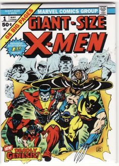 Giant-Size X-Men (Marvel, CGC NM White pages. First appearance of the new X-Men (Nightcrawler, - Available at Sunday Internet Comics Auction. Marvel Comics, Ms Marvel, Marvel Comic Books, Comic Books Art, Captain Marvel, Captain America, Hulk Comic, Book Art, Jack Kirby