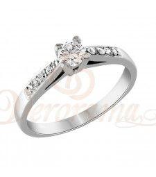 Μονόπετρo δαχτυλίδι Κ18 λευκόχρυσο με διαμάντι κοπής brilliant - MBR_078