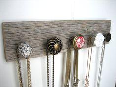 Necklace Organizer on Barn Wood