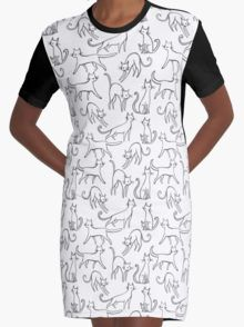 Cats All White Graphic T-Shirt Dress
