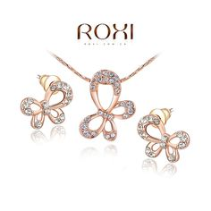 ROXI 18K Rose Gold Fashion Elegant Butterfly Pendant Necklace Earring Jewelry set For Women (Color: Rose gold)