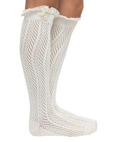 Love this Cream Pointelle Chevron Knee-High Socks by CoziBear Boutique on #zulily! #zulilyfinds