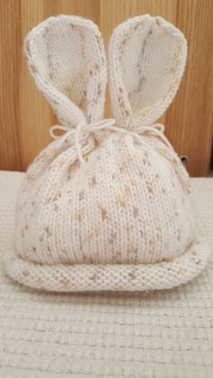 Baby bunny hat knitting project shared on the LoveKnitting Community