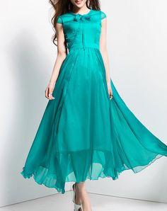 #AdoreWe BORME Fashionable Beach Folds Short Sleeve Maxi Dress - AdoreWe.com