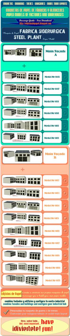 Infographic guide to the Steel Plant paper model collection. Follow our site to download new free models every week.