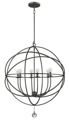 I love these 'swirling atom' chandeliers -- this one from Click Lighting