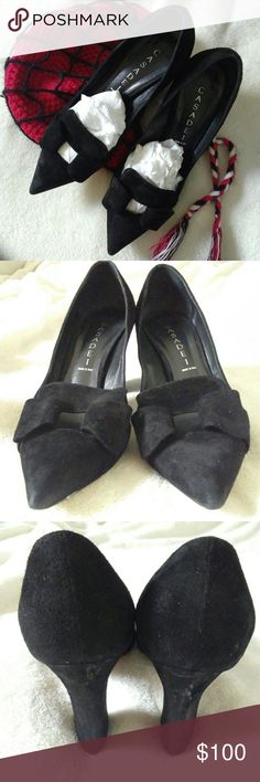 Casadei black suede bow chunky heels Casadei luxury brand Size 7 Slightly wear through out Suede and leather Authentic Casadei Shoes