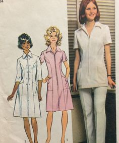 I have this one! Simplicity 5268 vintage 1970's misses uniform dress or tunic and pants size 14 bust 36 or size 18.5 bust 41  Uncut  Factory folds