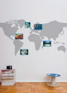 Adesivo de Parede Mapa Mundi Aventura  Achados para o Lar