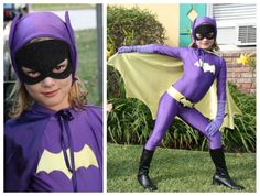DIY batgirl costume for kids Diy Halloween Costumes For Women, Toddler Costumes, Cool Costumes, Halloween Kids, Costume Ideas, Halloween Tricks, Costume Halloween, Batgirl Costume Kids, Batgirl Cosplay