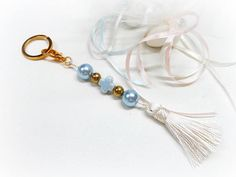 Keychain Baptism Favors with Porcelain Cross Keychain