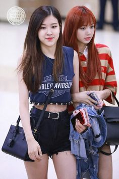 Rose and Lisa (Blackpink) Stage Outfits, Kpop Outfits, Korean Outfits, Pink Outfits, Blackpink Fashion, Korean Fashion, Fashion Styles, Kpop Girl Groups, Kpop Girls