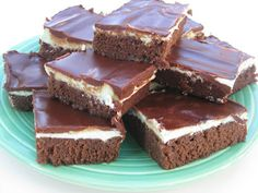Chocolate Mint Brownies Recipe  (from scratch, using creme de methe syrup)