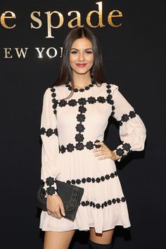 Actress Victoria Justice poses at kate spade new york Spring 2017 Fashion Presentation at Russian Tea Room on February 10 2017 in New York City Fashion 2017, Star Fashion, High Fashion, Womens Fashion, Victoria Justice, Kate Spade, Elegant Outfit, Dress To Impress, Spring