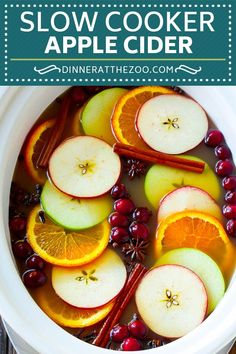 Slow cooker apple cider garnished with apple slices, oranges, cranberries, cinnamon sticks and spices. Crockpot Apple Cider, Mulled Apple Cider, Spiced Cider, Hot Apple Cider, Apple Recipes, Crockpot Recipes, Cooking Recipes, Holiday Recipes, Potato Recipes