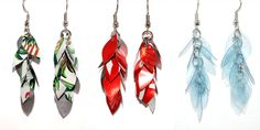 Chapas de Hojita- Little Leaf Earrings // Made from plastic water bottles and aluminum cans. Mallory Erickson coordinates the Nica HOPE jewelry project in Managua, Nicaragua.