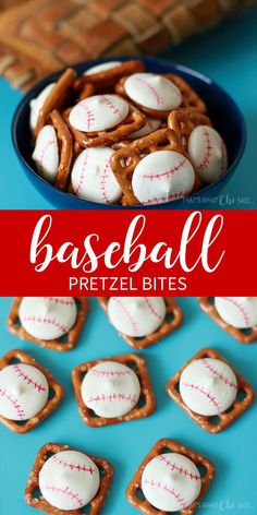 Baseball Pretzel Bites are perfect for any baseball party, little league snacks or for game day! #baseballtreats