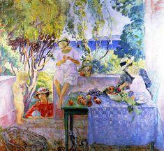 Henri Lebasque -  Meal on the Terrace, 1914