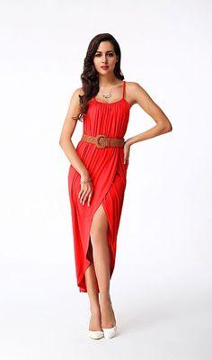 Red Spaghetti Straps Slit Dress. Buy DressSlit DressBelted DressSexy  DressesSexy Long DressWomen s Fashion ... 9c915fa172c1