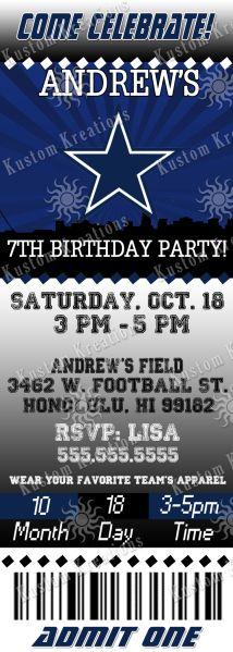 40cb6bc4b52f8c77aec614da3347a758 nfl dallas cowboys cowboy theme dallas cowboys nfl custom party ticket invitations on etsy, $8 99,Dallas Cowboys Birthday Invitations