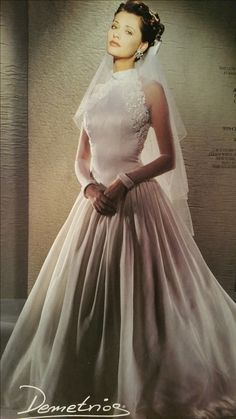 Demetrios 1995 Wedding Dress With Veil Gowns Lace Tips