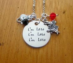 Alice in Wonderland Inspired Necklace. Perfect for when I'm late for work again ;-)