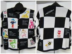 What a fun sweater! Recipes included! Martini Madness Happy Hour Size Medium Checkerboard Ugly Tacky Sweater Recipes