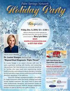 Join us this Friday for Dr. Louise Stanger's talk @ Melvyn's!  Make sure to RSVP at 877-769-4780 or events@recoveryview.com.