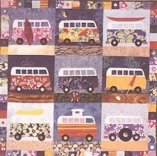 "~ GROOVY NEW PATTERN ~ 40""X40"" VW BUS QUILT ~ APPLIQUE ~"