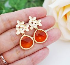 Wedding Jewelry Bridesmaid Jewelry Matte gold plated flower ear posts with Fire Opal Orange Glass Drops earrings