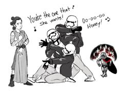 the stormtrooper trio trying to help their boss with her love life-  really guys? GREASE? Well you tried I suppose