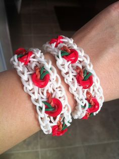 APPLE (or CHERRY) bracelet. Designed and loomed by Kathy Nave. (Rainbow Loom FB page). Click on Photo for You Tube Tutorial.