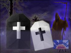 How to make an Origami Grave Stone for Halloween  It's Halloween Time! so fold these Origami Grave Stone to decorate. These are really easy to make! Do It yourself whith your kids.  Folder and Photo: Origami-Kids  Difficulty Level: Easy  Diagrams and Video Instructions: http://origami-blog.origami-kids.com/origami-grave-origami-halloween-for-kids.htm