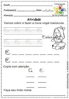 Atividades para Jardim: Vogais e encontros vocálicos Homeschool, Atv, Rose, Language Activities, Letter E Activities, Infant Activities, Cursive Letters, Note Cards, Pink