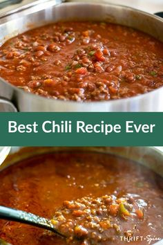 is the best chili recipe you'll ever try! It's incredibly flavorful and easy to make!This is the best chili recipe you'll ever try! It's incredibly flavorful and easy to make! Best Chili Recipe Ever, Favorite Chili Recipe, Favorite Recipes, All Day Chili Recipe, Kid Friendly Chili Recipe, Simple Chili Recipe, Chili Soup Recipe, Chilli Soup, Recipe Spice