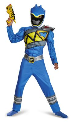 Power Rangers Blue Ranger Dino Classic Muscle Costume | Wally's Party Factory…