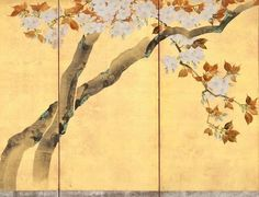 Detail. Blossoming Cherry Trees. Sakai Hōitsu 酒井抱一筆 桜図屏風 Japanese folding screen. circa 1805. One of a pair of six-panel screens; ink, color, and gold leaf on paper. Met Museum.