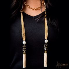 A beautiful chain that can be worn in various ways. With beads and tassels this is a must have piece. Available at Joules by Radhika. #joulesbyradhika #jewellery #fashion #trends #beautiful #chain #neckpiece #necklace #designer