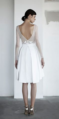 15 Exclusive Knee Length Wedding Dresses ❤ short v shape back with long sleeves knee lenght wedding dresses oui the label Full gallery: https://weddingdressesguide.com/knee-length-wedding-dresses/