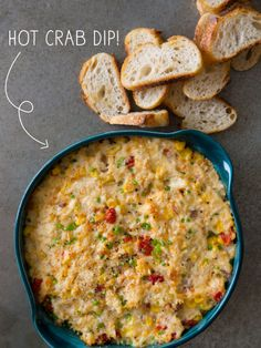 Hot Crab Dip by Spoon Fork Bacon. This deliciously quick and easy Hot Crab Dip is the perfect appetizer for any game day get-togethers! Appetizer Dips, Yummy Appetizers, Appetizer Recipes, I Love Food, Good Food, Yummy Food, Antipasto, Dip Recipes, Cooking Recipes
