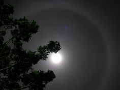 hexagonal crystals create a halo around the moon. in optics it is called an airy disk and size due to diffraction of light. I was able to observe this about a week ago from my home town. beautiful